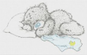 Схема вышивки спящего мишки